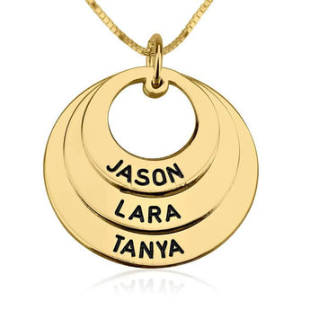 24k Gold Plated Curved Ring Engraved Mother Necklace - My Boho Jewelry