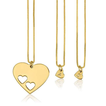 24k Gold Plated Floating Initial Hearts Mother Daughter Necklace Set - My Boho Jewelry