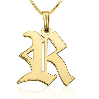 24k Gold Plated Old English Initial Necklace - My Boho Jewelry