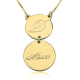 24k Gold Plated Initial and Name Engraved Layered Necklace - My Boho Jewelry