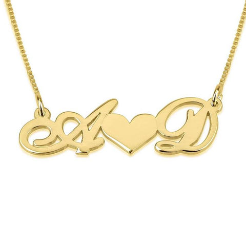 14K Gold Initials Necklace with Heart - My Boho Jewelry
