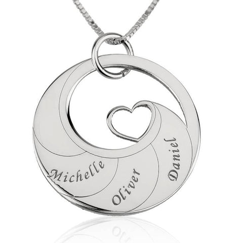 Sterling Silver Engraved Swirl Mother Necklace - My Boho Jewelry