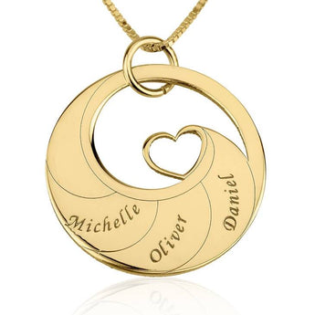 24k Gold Plated Engraved Swirl Mother Necklace - My Boho Jewelry