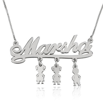 Sterling Silver Mother Name Necklace with Dangling Kids Charms - My Boho Jewelry