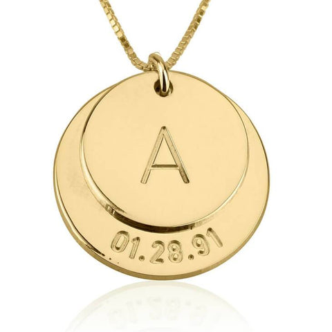 24k Gold Plated Engraved Initial and Date Necklace - My Boho Jewelry