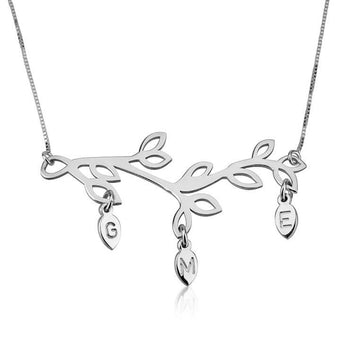 Sterling Silver Engraved Branch Mother Necklace - My Boho Jewelry