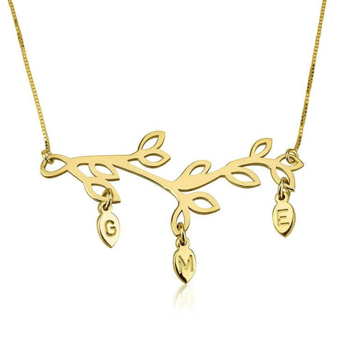 24k Gold Plated Engraved Branch Mother Necklace - My Boho Jewelry