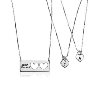 Sterling Silver Engraved Name Mother Daughter Necklace Set