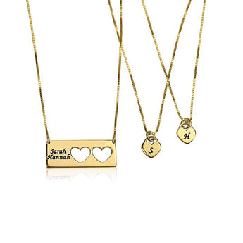 24k Gold Plated Engraved Name Mother Daughter Necklace Set - My Boho Jewelry