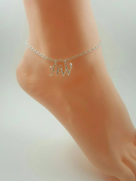 Sterling Silver Hotwife Initial Anklet - My Boho Jewelry