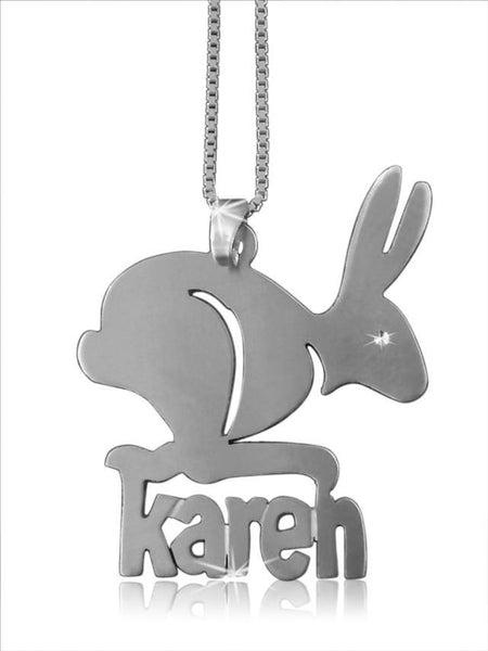 Rabbit Pendant Silver Name Necklace - My Boho Jewelry