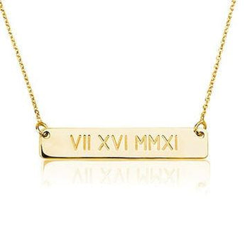 Gold Roman Numeral Bar Necklace - My Boho Jewelry