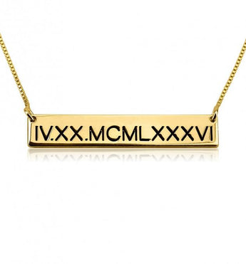 Gold Plated Roman Numeral Necklace - My Boho Jewelry
