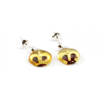 Silver Baltic amber earrings 79