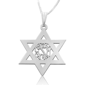 Sterling Silver Star of David Monogram Necklace - My Boho Jewelry
