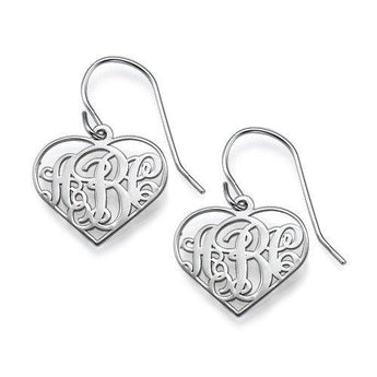 Sterling Silver Monogram Heart Frame Earrings - My Boho Jewelry