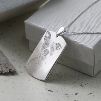 Custom Sterling Silver Dog Photo Necklace