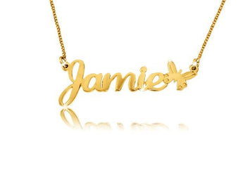 Child Size Butterfly Solid 14k Gold Name Necklace - My Boho Jewelry