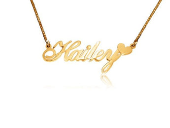 Small Hailey Heart Solid 14k Gold Name Necklace - My Boho Jewelry
