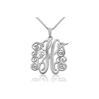 Silver Small 5 Letter Monogram Necklace - My Boho Jewelry