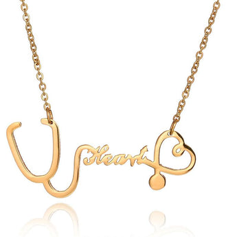 14k Solid Gold Stethoscope Name Necklace - My Boho Jewelry