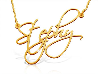 Custom Handwriting Name Necklace in Solid 14k Gold - My Boho Jewelry