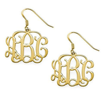 18k Gold Plated Vine Style Monogram Earrings - My Boho Jewelry
