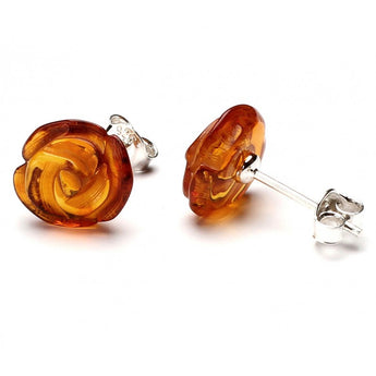 Silver Baltic amber earrings 41