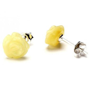 Silver Baltic amber earrings 44
