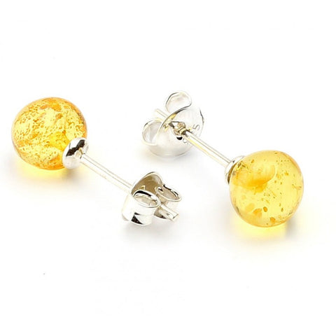 Silver Baltic amber earrings 53