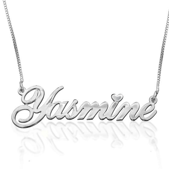 Heart Accent Name Necklace Sterling Silver - My Boho Jewelry