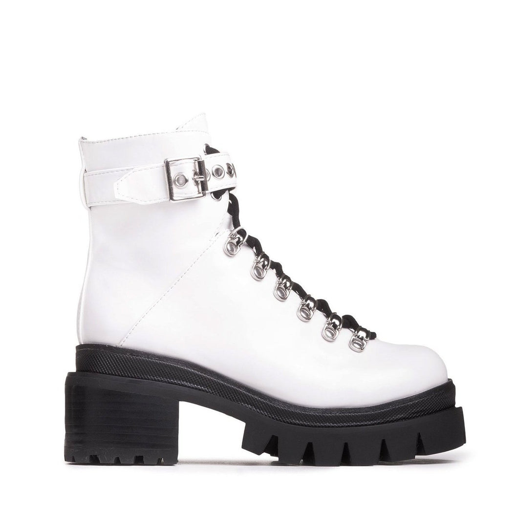 Jeffrey Campbell CZECH COMBAT BOOT. Women's Combat Boot In White Box Leather With D-Ring Lace Closure. 6.5cm Chunky Block Heel. Free Shipping Over $150. Afterpay & ZipPay Available.