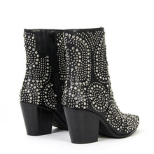 Jeffrey Campbell ACE-SJ. Women's Embellished Zip Boot. Black Leather. Designed In California. Free Shipping Over $150. Afterpay & ZipPay Available.