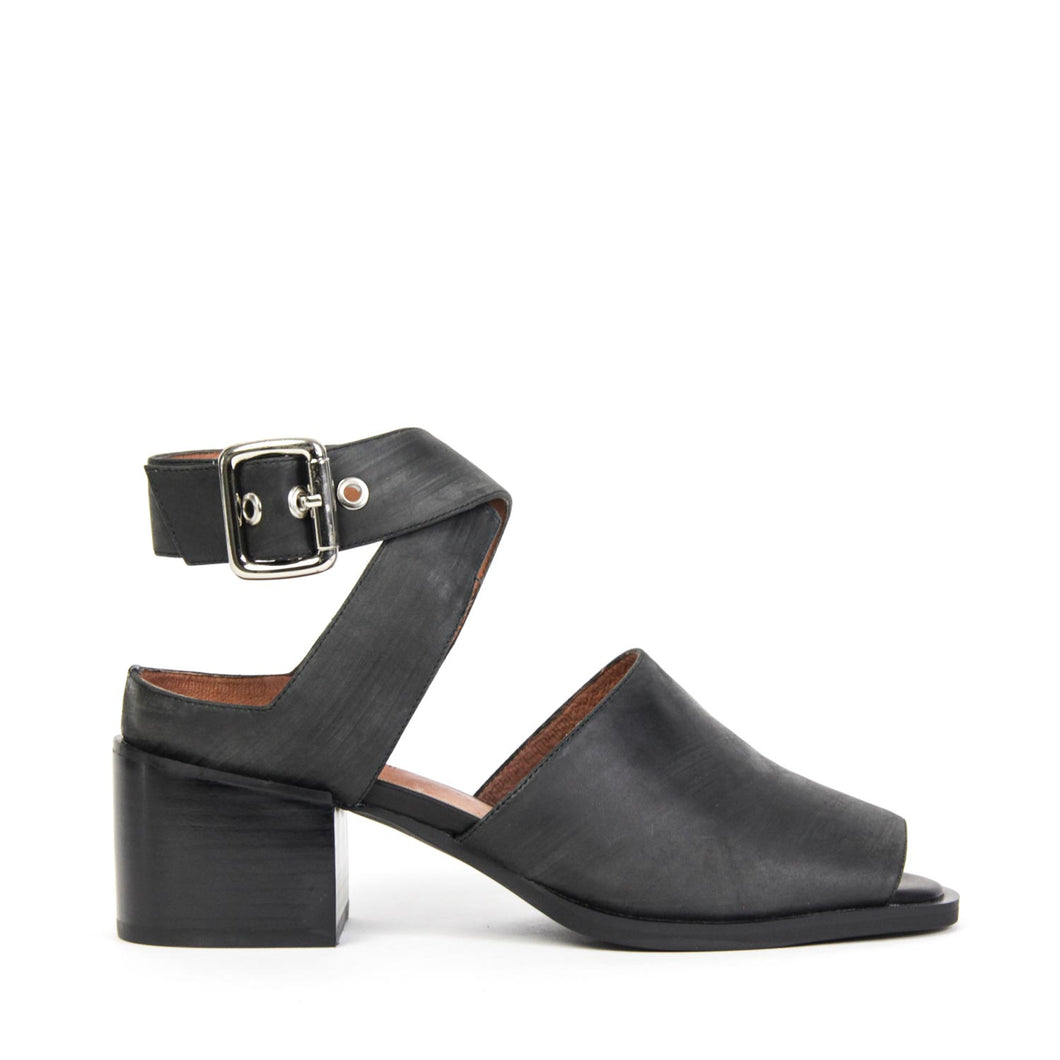 JEFFREY CAMPBELL BLAINE-2. Block Heel Sandal. Statement Hardware. Ankle Wrap Buckle Closure. Open Back & Peep Toe. Black Distressed Leather. Shop Afterpay.