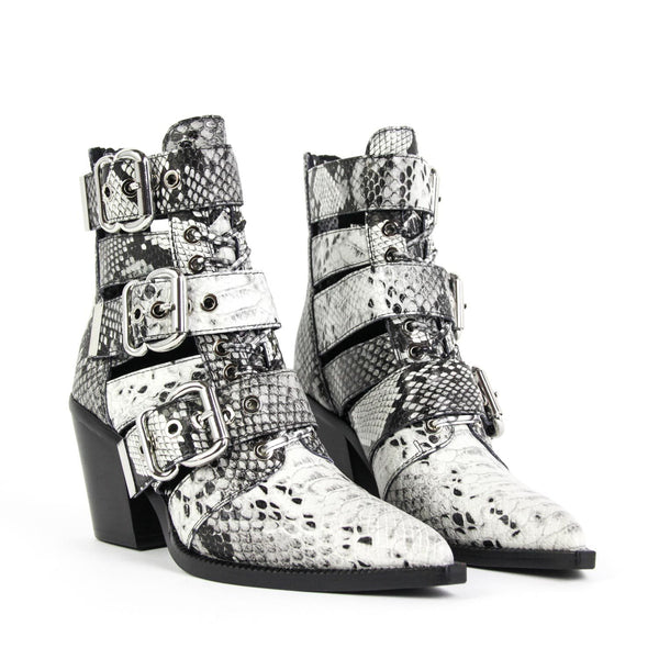 JEFFREY CAMPBELL Caceres Cutout Buckle Bootie Black White Snake Print.