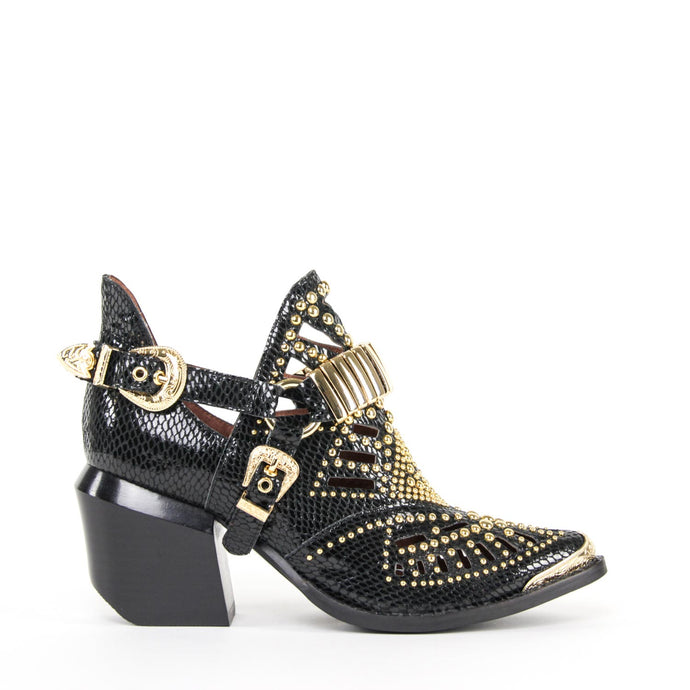 JEFFREY CAMPBELL Calhoun 4M Studded Harness Bootie Black Snake.