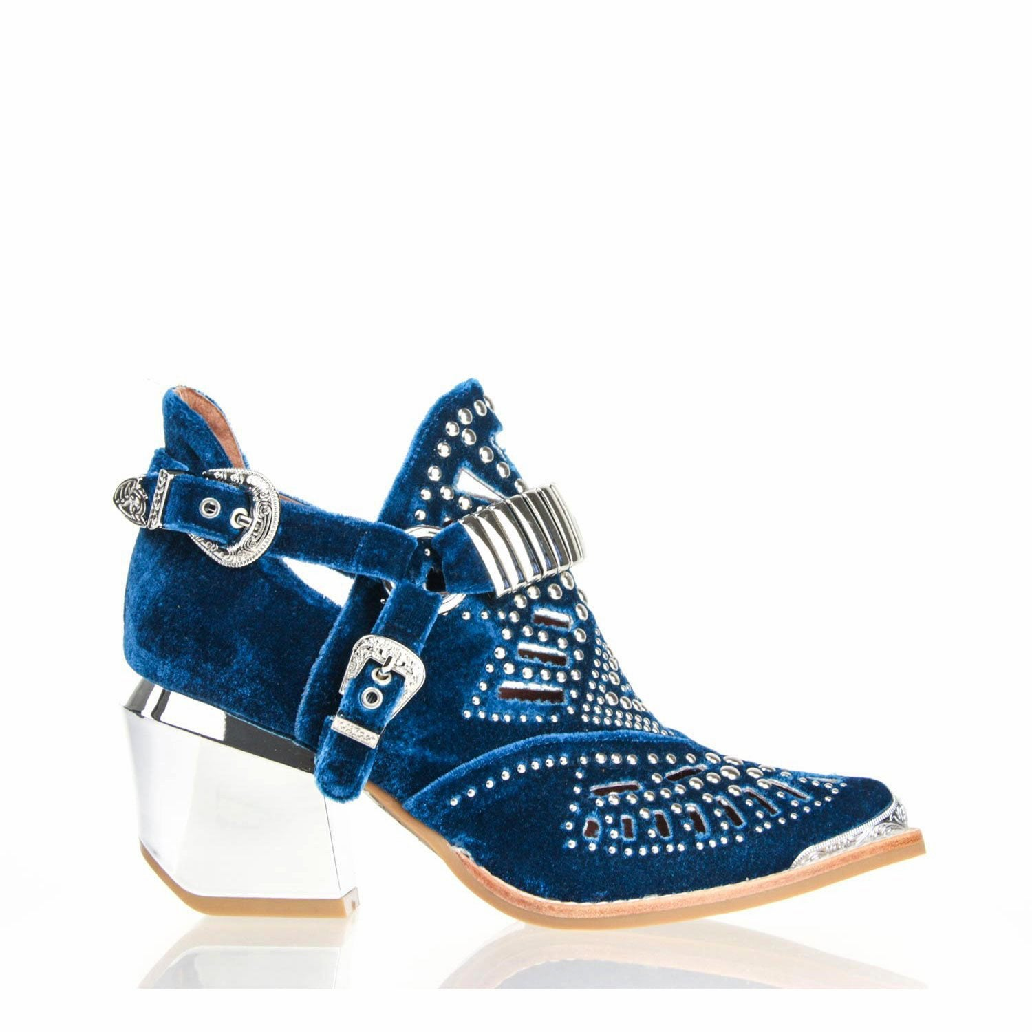 4e19bc2d6e2c Details about NEW JEFFREY CAMPBELL CALHOUN 4M STUDDED HARNESS BOOTIE BLUE  WOMENS BOOTS