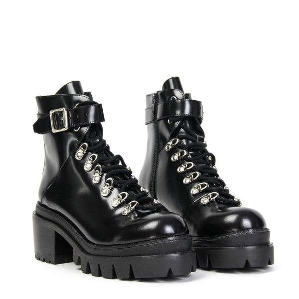 JEFFREY CAMPBELL Czech Chunky Platform Hiking Bootie Black.