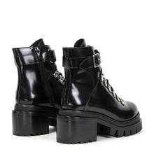 Jeffrey Campbell CZECH COMBAT BOOT. Women's Combat Boot In Black Shine Leather With D-Ring Lace Closure. 6.5cm Chunky Block Heel. Free Shipping Over $150. Afterpay & ZipPay Available.