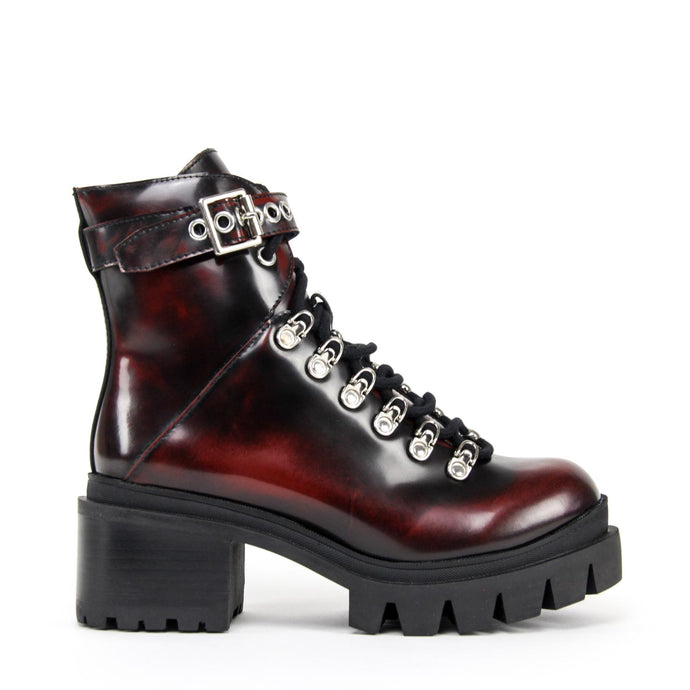 JEFFREY CAMPBELL Czech Chunky Platform Hiking Bootie Wine.