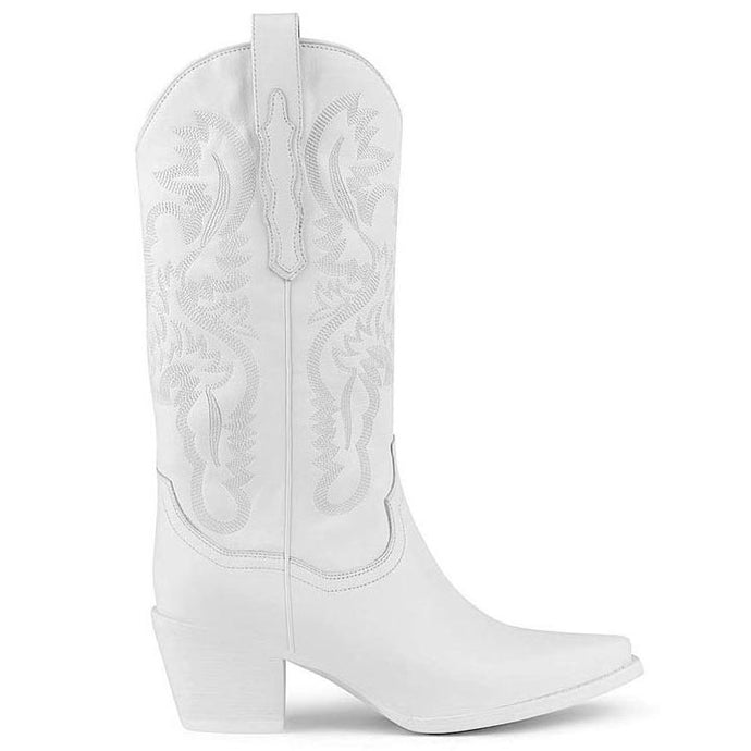 DAGGET Western Boot White Leather
