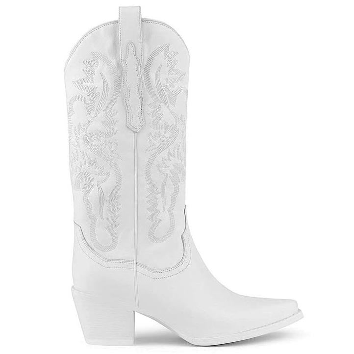 Jeffrey Campbell Dagget Western Boot in white leather featuring a chiselled pointed toe with ornate stitching on a Cuban block heel. Exclusive to Amo Store. Free Shipping Australia Wide Over $150. Shop Now Pay Later Afterpay & ZipPay.