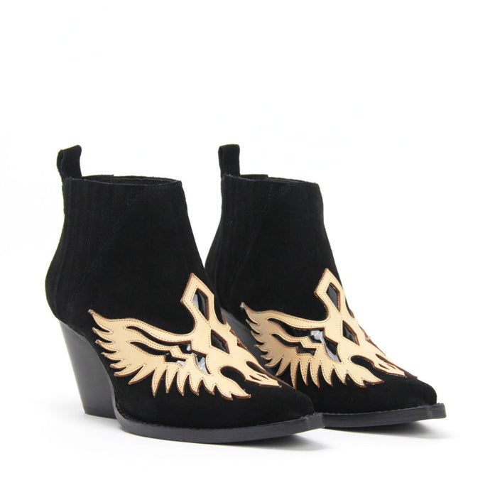 JEFFREY CAMPBELL FAWKES. Pointed Toe Western Bootie. Black Suede
