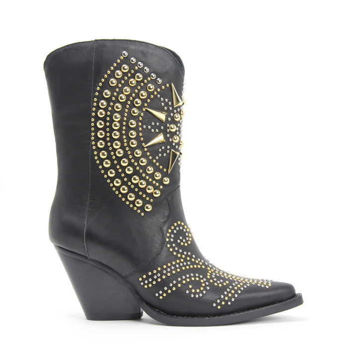 JEFFREY CAMPBELL GLORIOUS. Pointed Toe Studded Western Boot. Black Leather