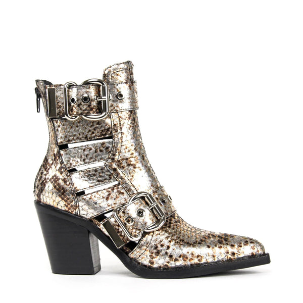 JEFFREY CAMPBELL Guadalupe Cutout Buckle Bootie Metallic Snake.