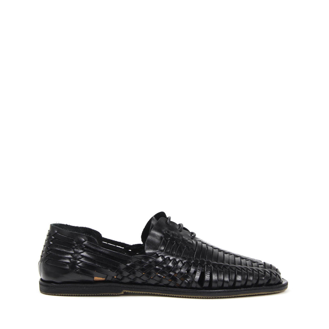 JEFFREY CAMPBELL HUARACHE. Men's black woven leather lace-up sandals. Designed In California. Free And Fast Shipping Australia Wide. Shop Afterpay & zipPay.