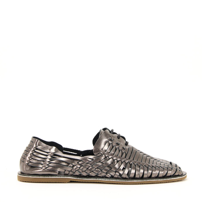 JEFFREY CAMPBELL Huarache SF Woven Lace-up Sandal Pewter.