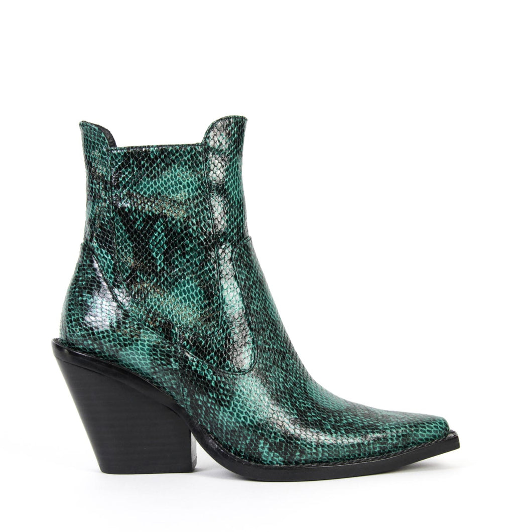 Jeffrey Campbell JOHAN. Women's Western Chelsea Ankle Boot In Green Snake Print With Zip Closure & Elastic Gore. 6.5cm Heel. Free Shipping Over $150. Afterpay & ZipPay Available.