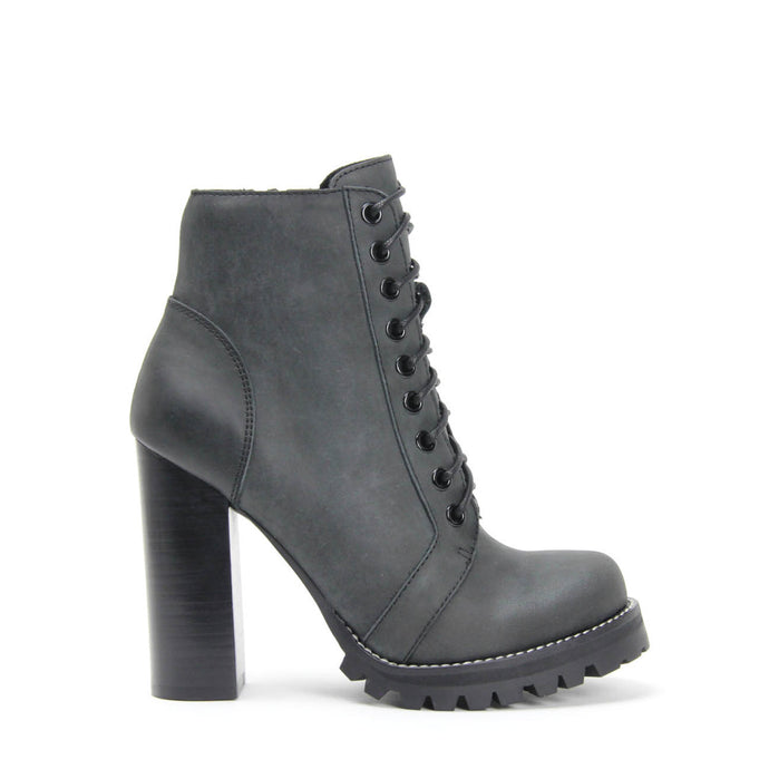 JEFFREY CAMPBELL LEGION Lug Sole Heeled Lace-Up Booties Black Distressed Leather.