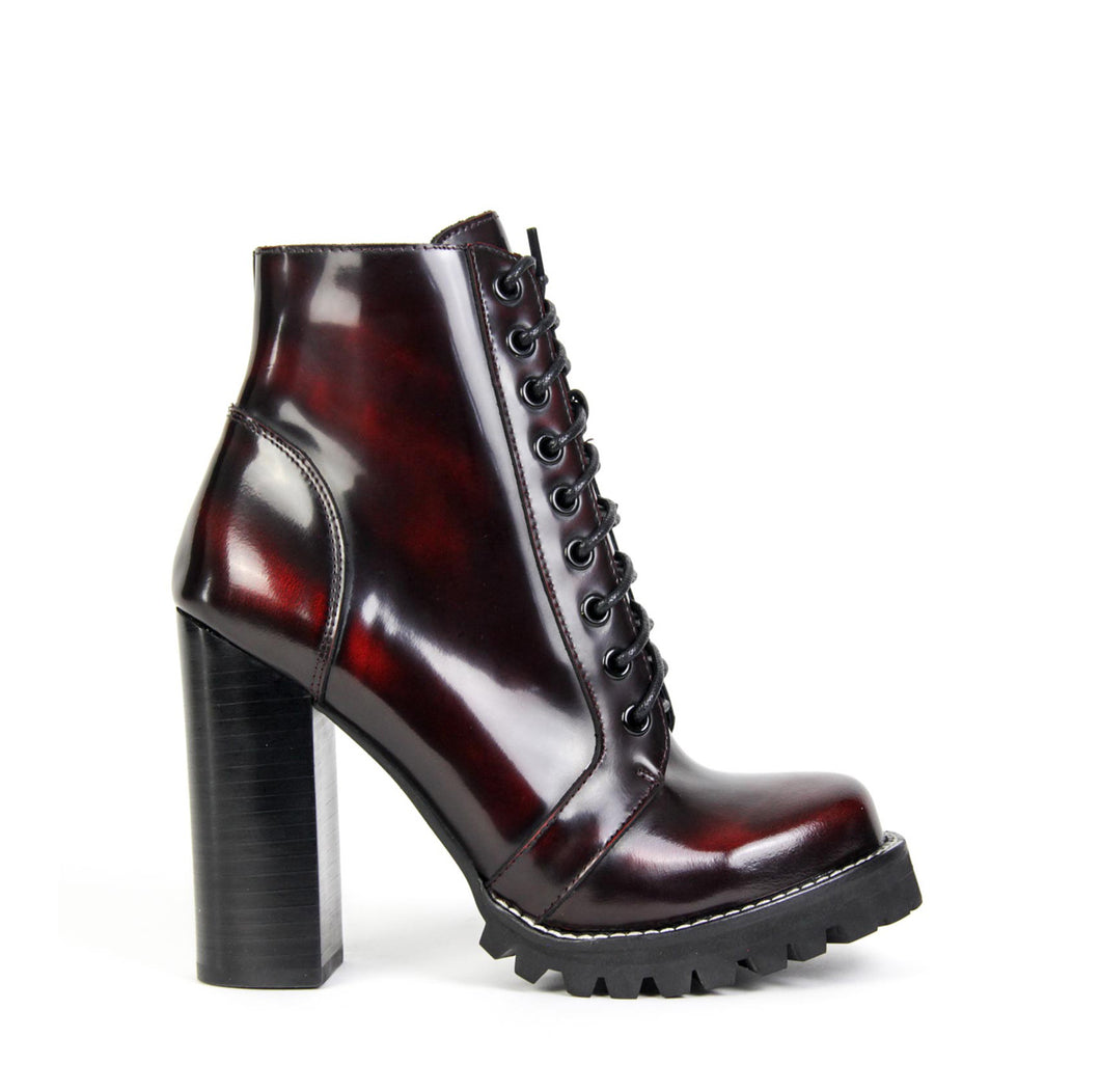 Jeffrey Campbell Legion Lace-up Lug Boot in wine box calf leather, full leather lining, lace-up and side zip closure. Shop Now Pay Later Afterpay. Free Shipping.